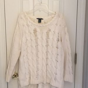 H&M white loose knit sweater size M